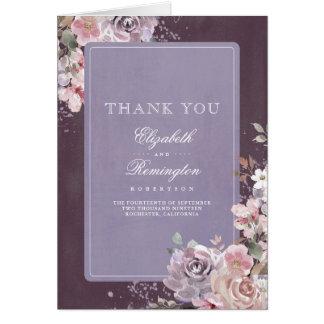Cartão Obrigado malva do casamento da ameixa e do Lilac