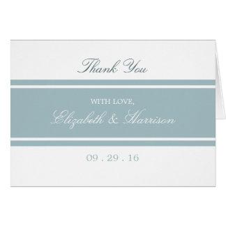 Cartão Obrigado moderno azul do casamento do ovo do pato