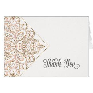 Cartão Obrigado nota casamento romântico sofisticado