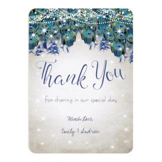Cartão Obrigado o casamento de prata do Aqua Luxe do