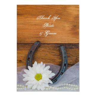 Cartão Obrigado ocidental em ferradura do casamento da