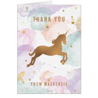 Cartão Obrigado Pastel do unicórnio você