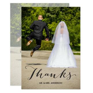 Cartão Obrigado preto do casamento da foto da caligrafia