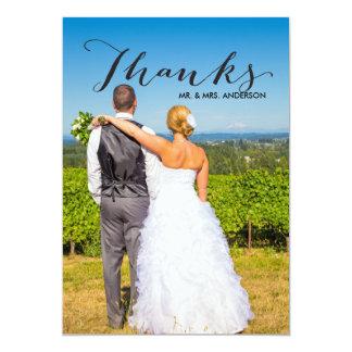 Cartão Obrigado preto do casamento da foto do roteiro  