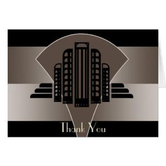 Cartão Obrigado preto e de bronze da torre do art deco