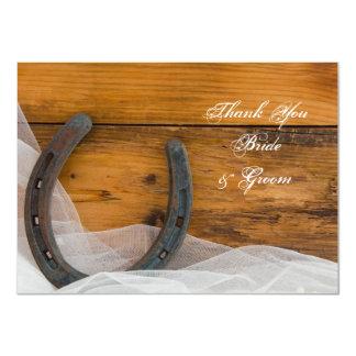 Cartão Obrigado que ocidental da ferradura e do casamento