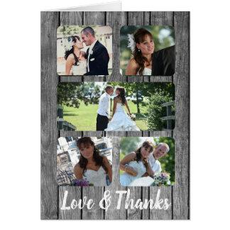 Cartão Obrigado rústico da foto do casamento cinco você