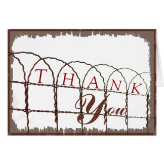 Cartão Obrigado rústico do casamento da cerca do metal do