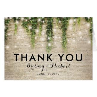Cartão Obrigado rústico do casamento da igreja da pedra