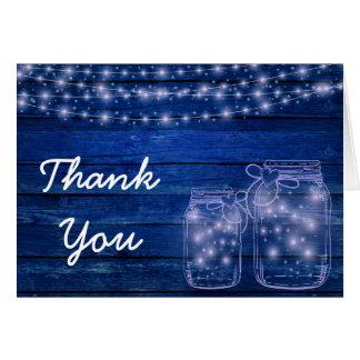 Cartão Obrigado rústico do casamento da noite do frasco