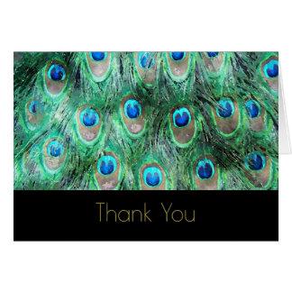 Cartão Obrigado selvagem exótico da aguarela das penas do