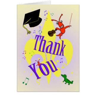 Cartão Obrigado temático da graduação de Cajun você