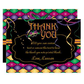 Cartão Obrigado tradicional brilhante do carnaval você