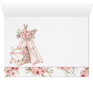 Cartão Obrigado tribal do chá de fraldas do Fox do TeePee