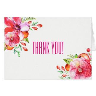 Cartão Obrigado vazio elegante você nota a laranja verde