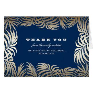 Cartão Obrigados do casamento de praia das folhas das