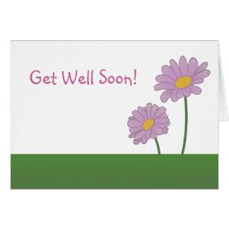 Cartão Obtenha o poço logo com margaridas roxas