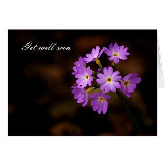 Cartão Obtenha o poço logo, flor roxa