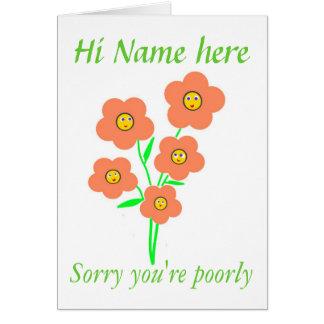 Cartão Obtenha o poço logo, flores de sorriso,