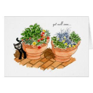 Cartão Obtenha o poço logo, o gato e as ervas