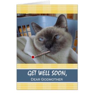 Cartão Obtenha o poço logo para a madrinha, gato doente
