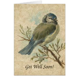 Cartão Obtenha o poço logo, pássaro de Bluetit do vintage