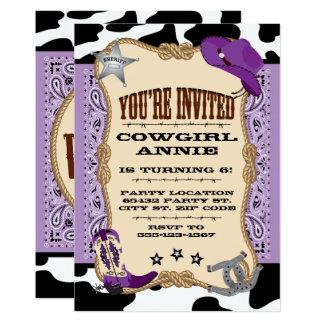 Cartão Ocidental roxo, festa de aniversário da vaqueira