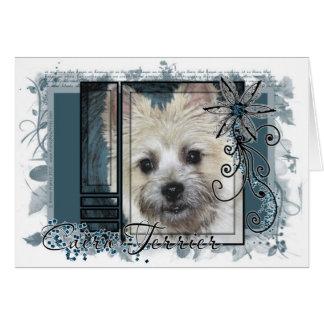 Cartão Olhe em seus olhos - monte de pedras Terrier