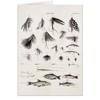 Cartão Os 1800s do vintage que dobram a pesca com mosca