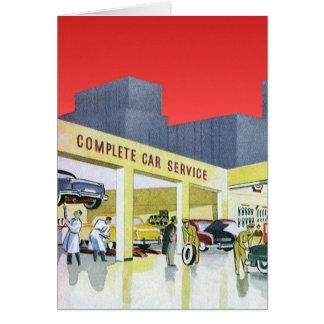 Cartão Os auto mecânicos do vintage terminam a garagem do