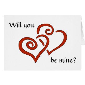 Cartão Os corações entrelaçados querem-no sejam meus? O