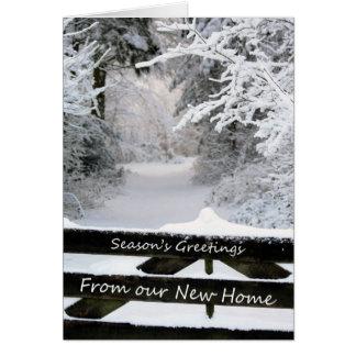 Cartão Os cumprimentos da estação de nossa casa nova -
