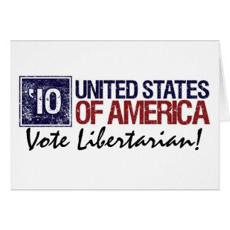 Cartão Os Estados Unidos do vintage do libertário do voto