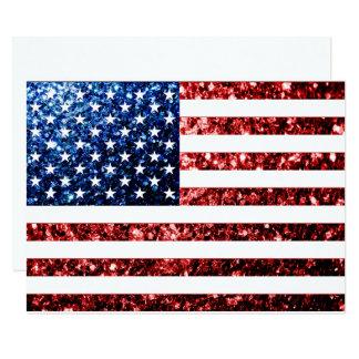 Cartão Os EUA embandeiram o vermelho & o azul sparkles