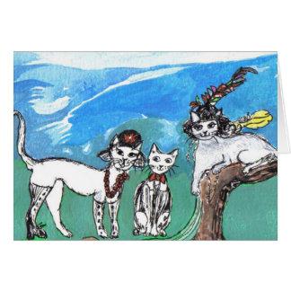 Cartão Os felines do hippy