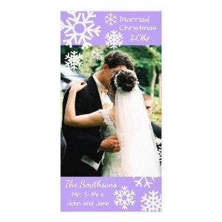 Cartão Os flocos de neve múltiplos datado casaram a