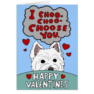 Cartão Os namorados Choo Choo de Westie escolhem-no