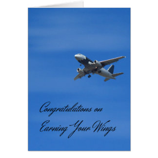 Cartão Os parabéns cardam em ganhar suas asas