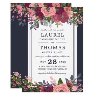 Cartão Os rosas & o Hydrangea - Borgonha & coram