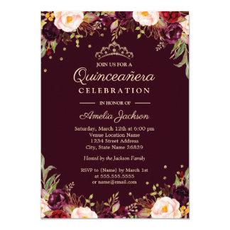 Cartão Ouro Borgonha Quinceanera floral elegante