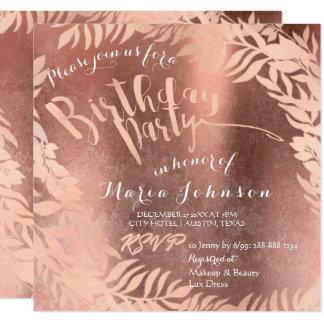 Cartão Ouro cor-de-rosa do cobre da grinalda das folhas
