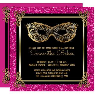 Cartão Ouro cor-de-rosa do doce dezesseis da bola de