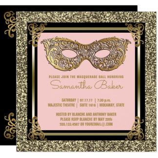 Cartão Ouro cor-de-rosa do doce dezesseis do mascarada |