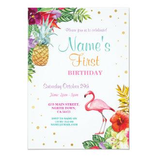Cartão Ouro do aniversário da menina do flamingo Aloha