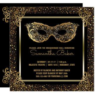 Cartão Ouro do doce dezesseis do partido | do mascarada