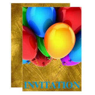 Cartão Ouro dos Ballons do carnaval do aniversário do