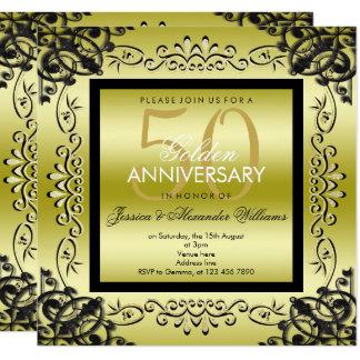 Cartão Ouro elegante & casamento das mulheres negras 50th