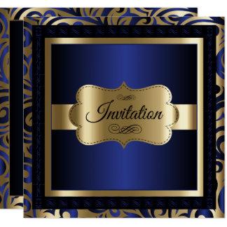 Cartão Ouro & modelo azul do partido do teste padrão do