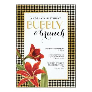Cartão Ouro verificado do Amaryllis flor vermelha