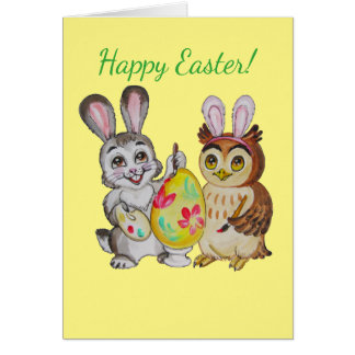 Cartão Ovo da pintura do coelho e da coruja de felz